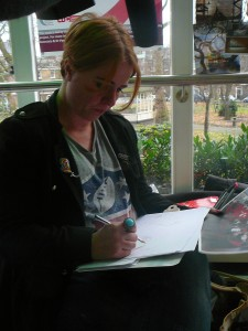 Artist Susie Howarth sketching student's learning space ideas